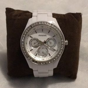 Fossil watch, white, studded